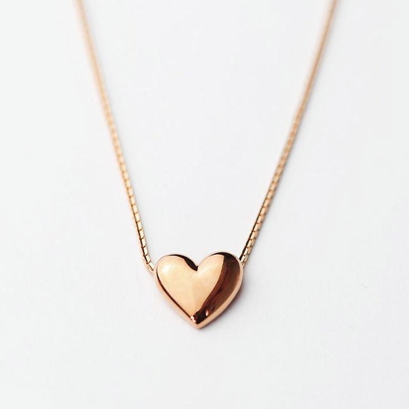 Mini Rose Gold Heart Charm Necklace Pink Gold Hammered Heart Necklace Tiny Rose Gold Heart Necklace 24K Rose Gold Vermeil